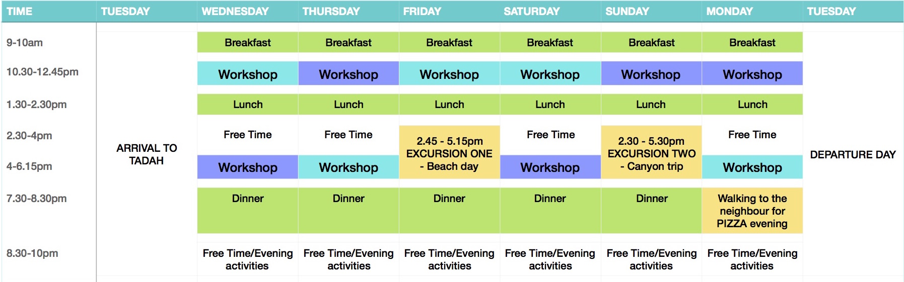 2016 Sample Timetable