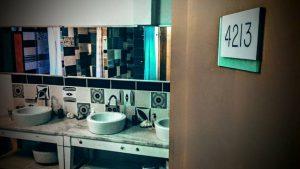 hotel door and sinks